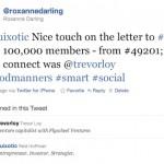 tweet from @roxannedarling re: LinkedIn 100 m members