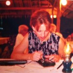 roxanne darling typing on an Apple Newton in Thailand in 1997
