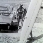 rox and her hobie surfboard in south carolina