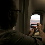 Shane capturing the sunset over the Atlantic, en route to Paris