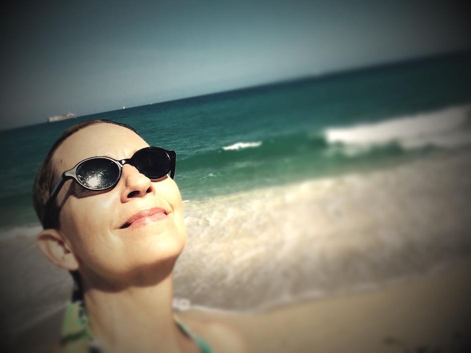 photo of Rox having a beach day