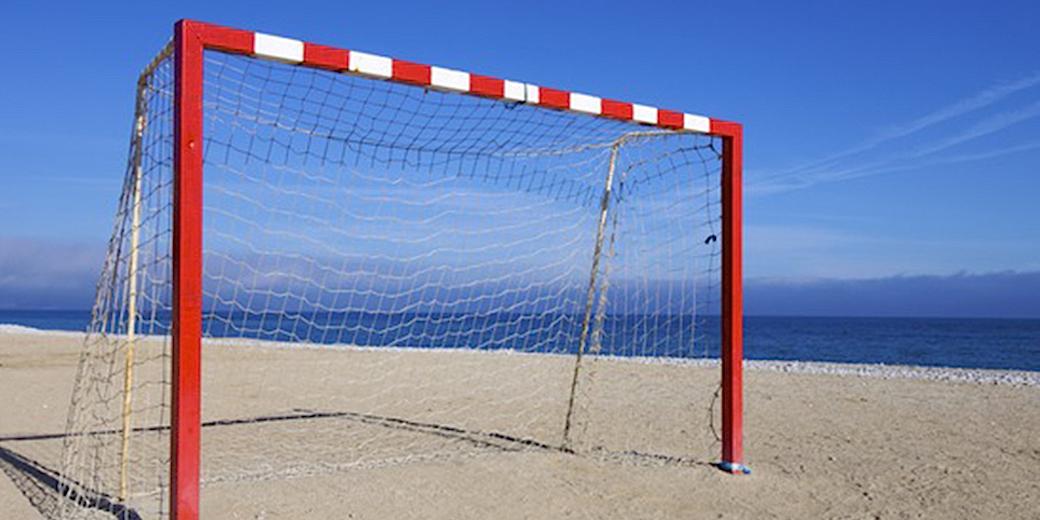 goal post on a beach